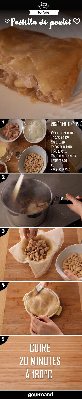 1. Placez le poulet coupé en morceaux dans une casserole avec du beurre. Ajoutez l'oignon, le poivre, le sel, la cannelle et le sucre et cuisez à feu doux. 2. Retirez les morceaux de poulet une fois qu'ils sont cuits et réduisez la sauce. 3. Beurrez un moule rond et disposez une première couche de feuille de brick.4. Ajoutez la sauce, puis le poulet puis les amandes.5. Recouvrez de feuille de brick et fermez bien votre pastilla.6. Badigeonnez-la de beurre et faites cuire 20 min au four à…
