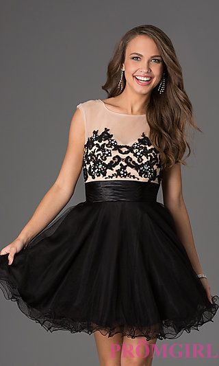 Short Sleeveless Dress with Lace Embellished Bodice at PromGirl.com $149 KB dress is pink :)