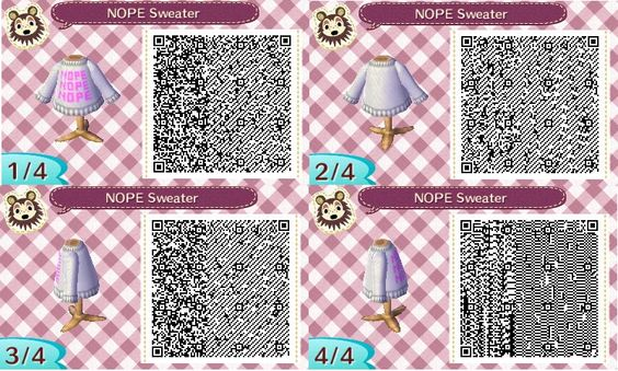 NOPE text sweater: ACNL QR clothes