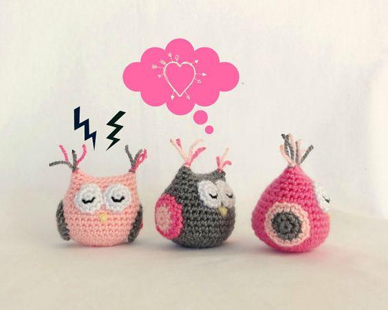French Knitting Owl Doll : Baby girl amigurumi owl handmade crochet animal toy