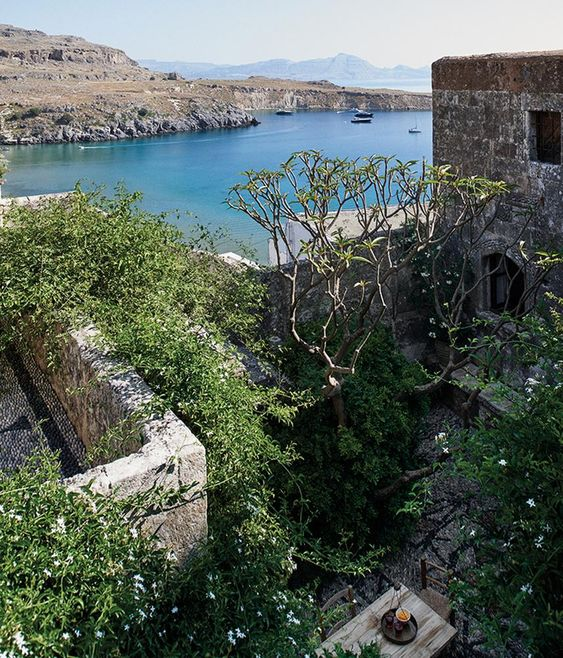 <strong>BAYWATCH</strong> | The jasmine-covered balcony of Conran's bedroom offers a view of Lindos and the Rhodes coastline. The house dates from the 16th century.