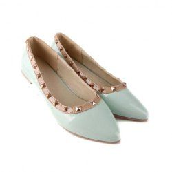 Casual Women's Spring Flat Shoes With Patent Leather and Pointed Toe Studs Design