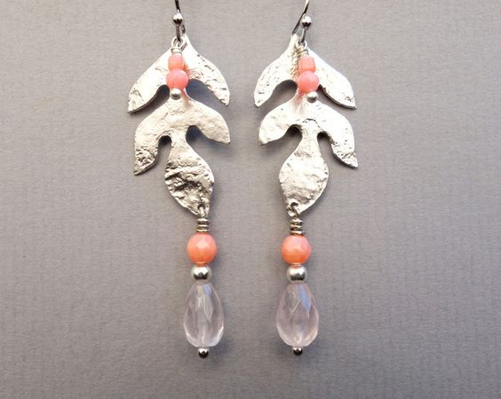 BLATT SILBER * Koralle * Rosenquarz * von SCHMUCK. by felicitas mayer auf DaWanda.com