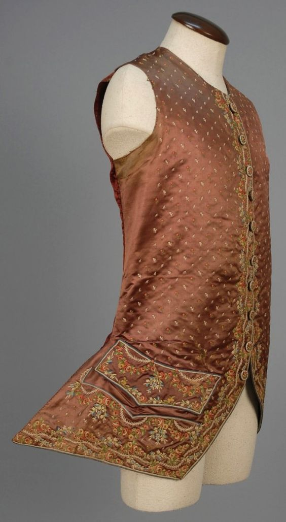 Waistcoat, 1750-1775. Brown silk satin with polychrome silk tambour embroidery with allob´ver tiny posies and flowers.