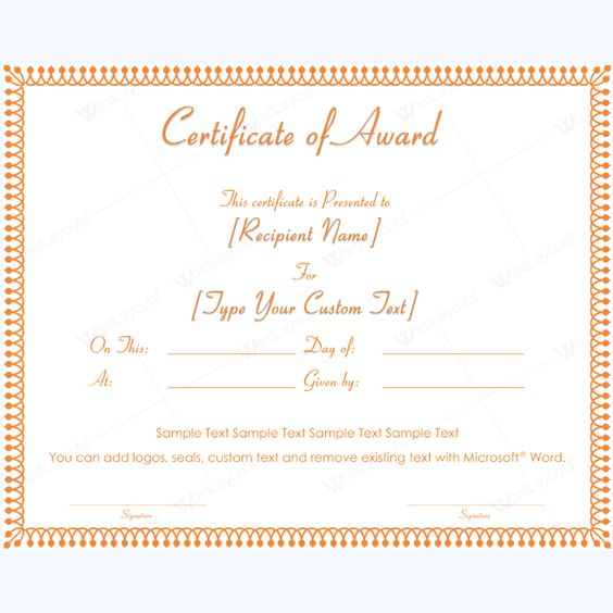 Best Performance Award Certificate Template Award Certificate - certificate template for microsoft word