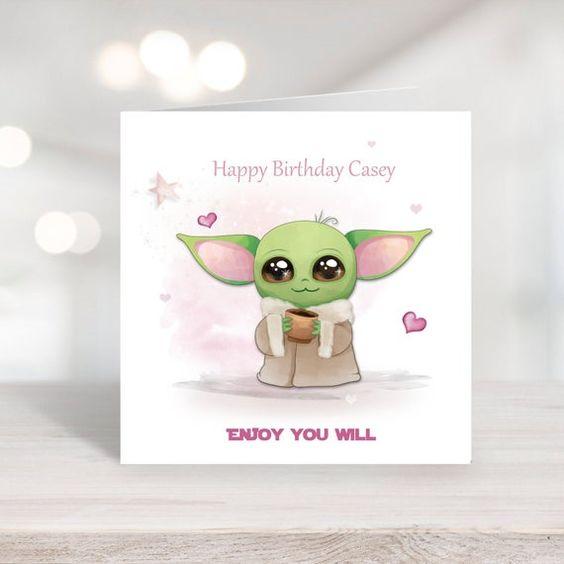 Star Wars Mandalorian Baby Yoda Birthday Card Featuring Yoda Cards Birthday Cards Star Wars Yoda