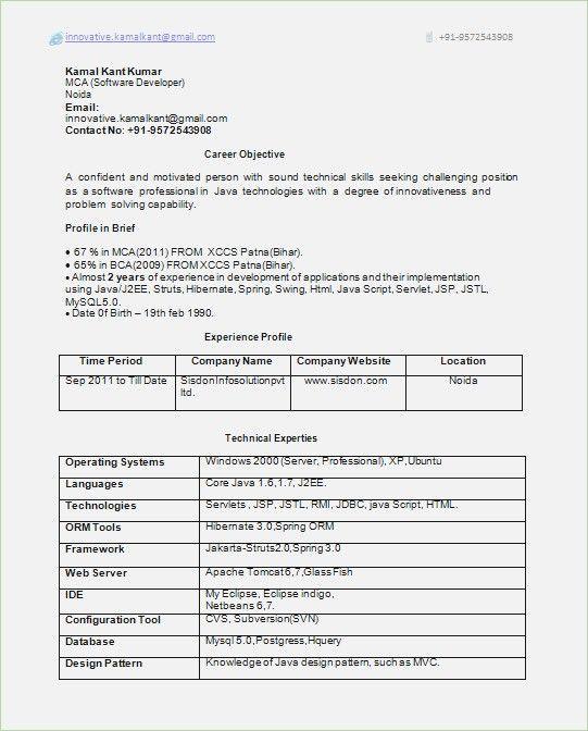 2 Years Resume Format Resume Format Job Resume Samples Resume Templates