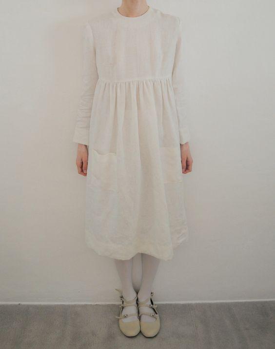 Handmade 100% Organic Linen Babydoll Dress.