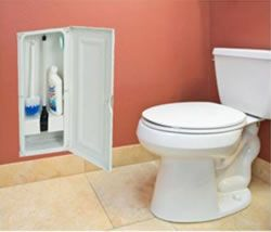 mounting a storage cabinet between the studs in your wall to house the plunger, toilet bowl brush and cleaner