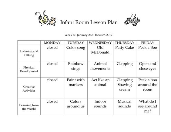 Infant Room Lesson Plan - Westlake Childcare by linzhengnd - Daily Lesson Plan Template