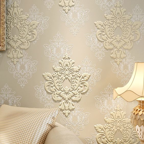 High quality luxury 3d damask wallpaper fabric embossed for Luxury 3d wallpaper