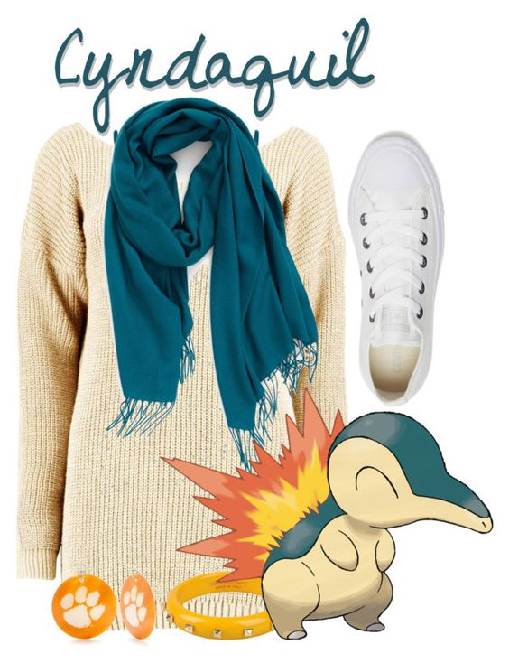 """""""Cyndaquil!"""" by freezespell ❤ liked on Polyvore featuring Converse, WearAll, SCERVINO STREET, Nordstrom and Accessory PLAYS"""