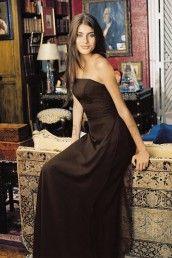 Chiffon Strapless Side Draped Bodice Floor-Length Bridesmaid Dress