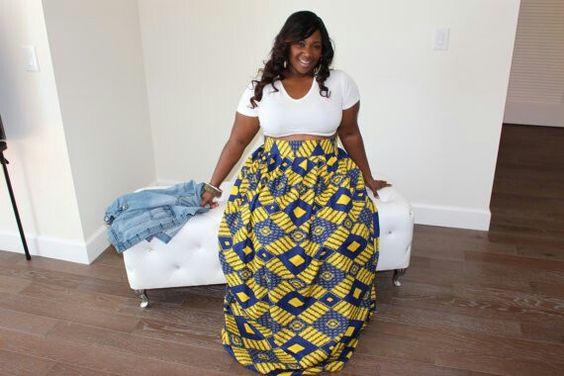 Plus Size African Print Maxi Skirt