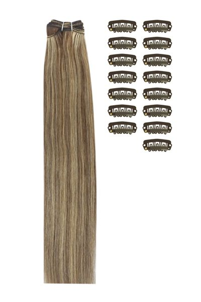 Diy Remy Clip In Human Hair Extensions Medium Brown Strawberry