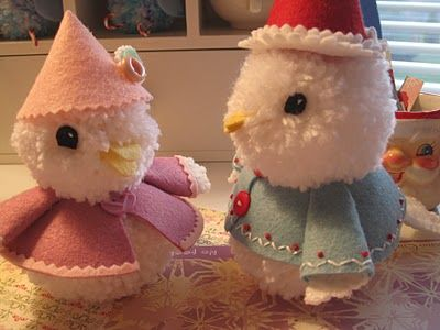 Pom-pom critters with felt clothing :)