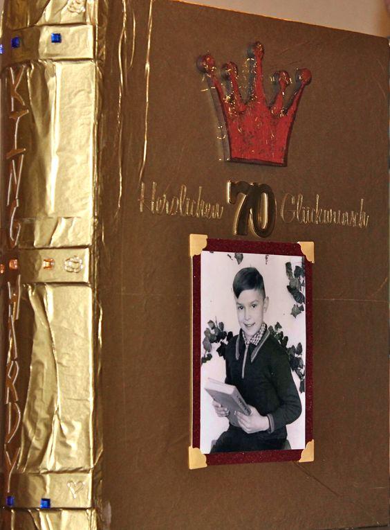 Geburtstags - Buch zum 70.gsten vergoldet und verziert