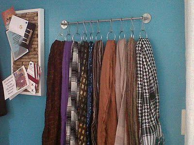 scarfs - towel bar + S hooks + shower curtain rings = great scarf organization!