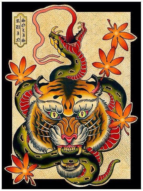 Snake vs tiger american traditional japanese tattoo di for American traditional tiger tattoo