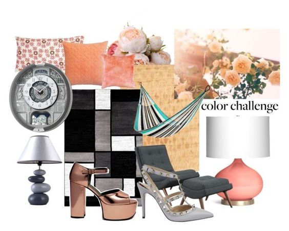 """""""GrayandPeach3"""" by ariannapeach ❤ liked on Polyvore featuring interior, interiors, interior design, home, home decor, interior decorating, Emporium Home, Shades of Grey by Micah Cohen, Alpine and Allem Studio"""