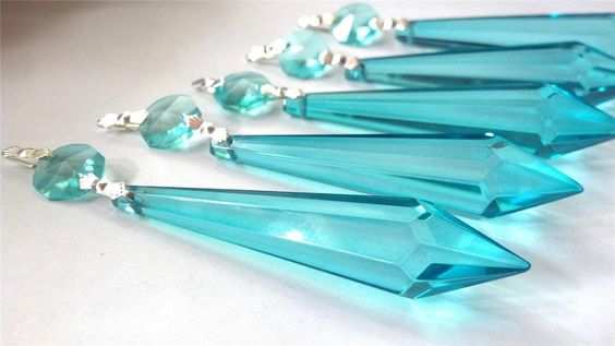Aqua Icicle Chandelier Crystal Prisms
