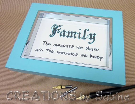 Handwritten Framed Calligraphy, Original Art, Free Standing Table Top Frame, Turquoise, Silver, Family Quote, Saying, Inspiration, Memories