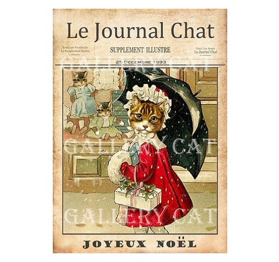 FRENCH CAT Journal Cover Digital Collage Sheet Instant Download Paper Crafts Card Original Whimsical Altered Art by GalleryCat CS119