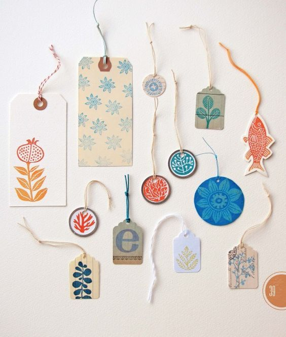 """Hand-stamped Gift Tags, featured in """"Making an Impression"""" by"""
