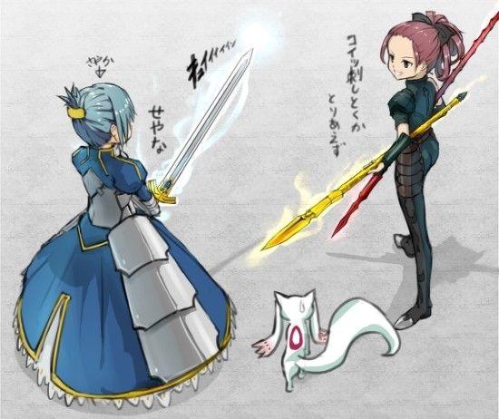 Puella Magi Madoka Magica x Fate/Zero (Sayaka/Saber, Kyoko/Lancer)