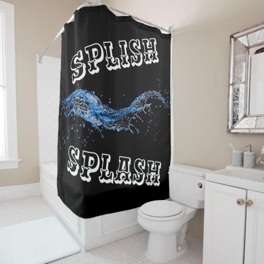 Splish Splash Shower Curtain In Black Blue White Zazzle Com