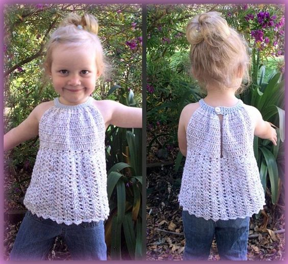 Free Crochet Toddler Tank Top Pattern : Download Now - CROCHET PATTERN Pleated Halter Top ...