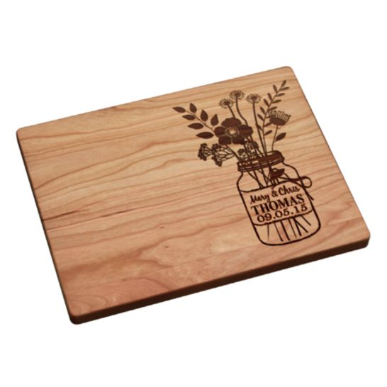 Personalized Cutting Board (Mason Jar with Flowers Design) - Darby Smart