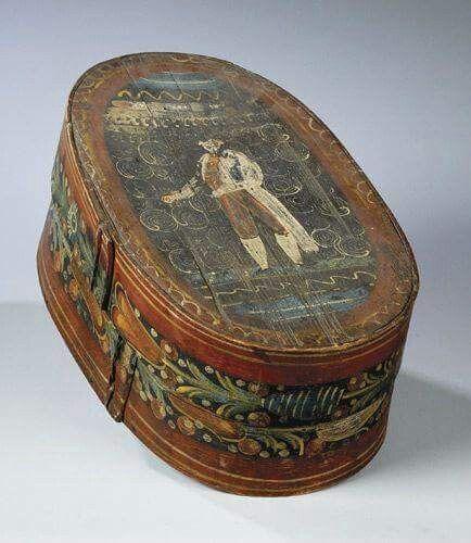Captivating BRIDAL BOX, Sweden, Folk Art, 19th Century    BRUDBURK, Swedish Brides