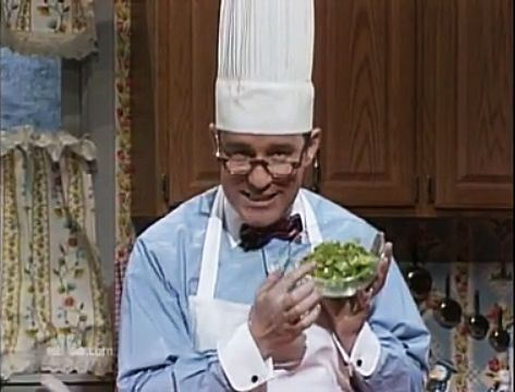 """Anal Retentive Chef - the late Phil Hartman's classic SNL routine. In this episode,Chef Gene makes his famous Pepper Steak. """"People try to tell you the secret to Pepper Steak is the seasoning, but we know differently, don't we. It's getting all the pieces the same size."""" (click image to watch video on HULU)"""