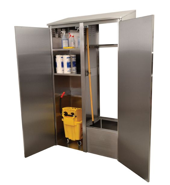 No Janitor Closet? No Problem! Advance Tabco Introduces Their New Double  Wide Mop Sink Cabinet. Features Include 2 Full, And 2 Half Shelves. Half Su2026