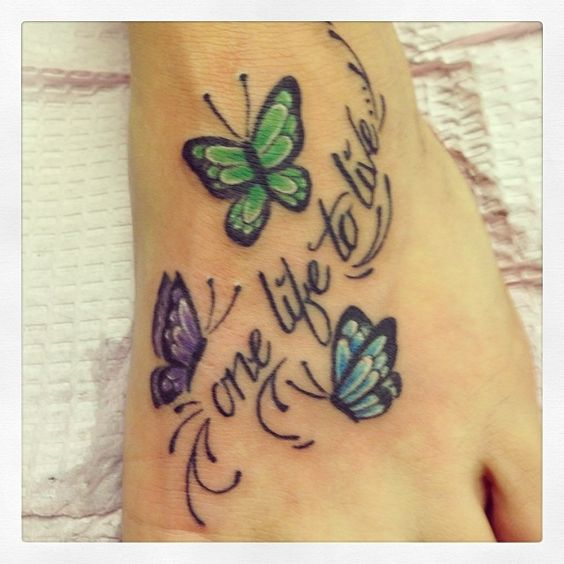Tattoo Quotes Dreams Hope Belief: Butterfly Foot Tattoo, Foot Tattoos And Faith Hope Love On