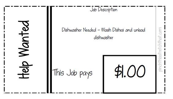 Childrens Chore Chart You Choose The Chores Girl By Kidsentials   Dishwasher  Job Description