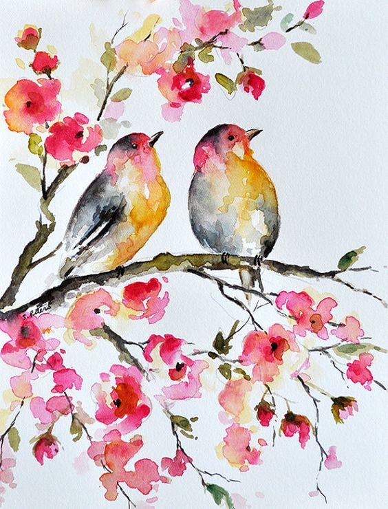 Original watercolor painting bird and flowers for Spring flowers watercolor
