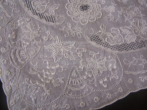 embroidered square shantou handkerchief. Shantou whitework is from China.