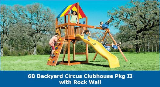 6B Backyard Circus Clubhouse Pkg II with Rock Wall #swingsets #rainbowplay #rainbowplaysystem #rainbowplaysystems
