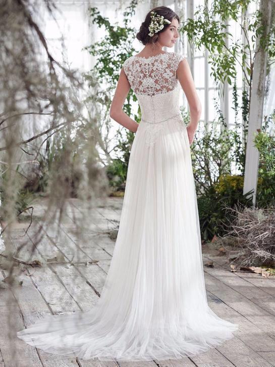 Bruidsjurk elegant recht model van chiffon met kanten top
