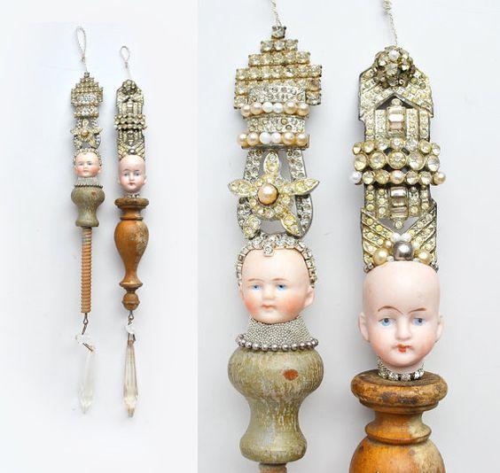 Queen original art doll handmade ornament by by ElizabethRosenArt: