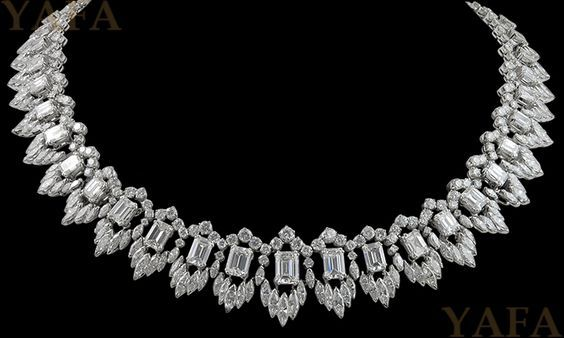 Vintage Emerald-cut, Marquise and Round Diamond Necklace