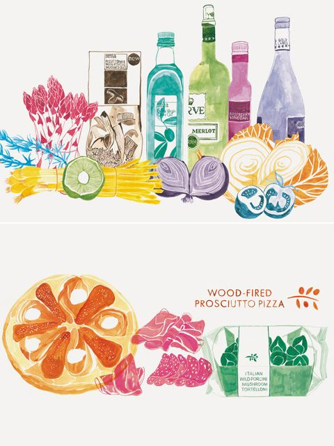 gorgeous wall illustrations for Marks and Spencers by Emily Robertson