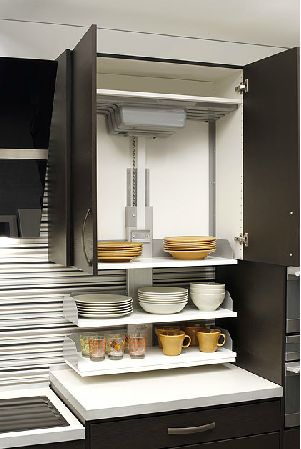 The Verti shelving lift system is a great way to make upper cabinets accessible for people in wheelchairs