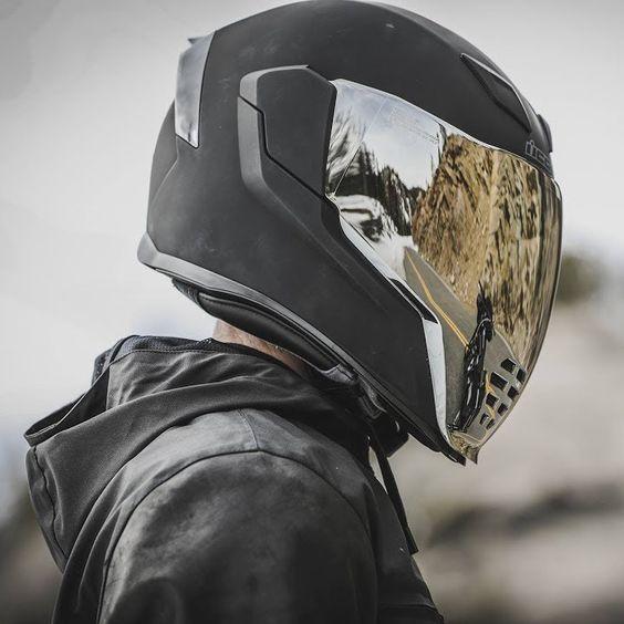 Icon Airflite Rubatone Matt Black Full Face Motorcycle Motorbike Helmet
