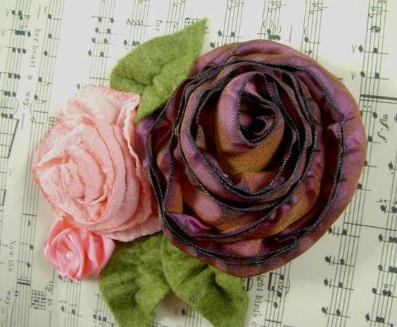 3 Roses Pin Ombre Crepe Satin Purple Pink Peach  by WaywardWomen,