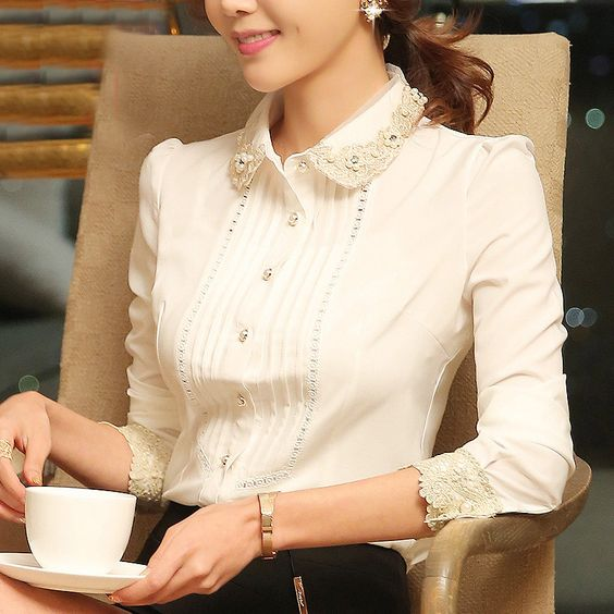 2015 senhoras novo escritório moda elegante mulheres lace blusa summer estilo casual work blusa plus size em Blusas de Roupas e Acessórios Femininos no AliExpress.com | Alibaba Group
