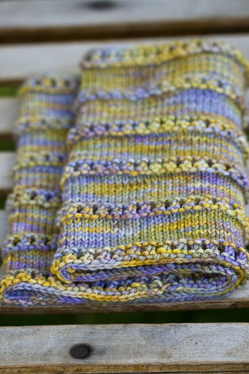Cast on 120 stitches. Join for knitting in the round. Place marker for beginning of round. Purl one round.* YO, Knit 2 tog* around. Purl one round. Knit ten rounds. Repeat until desired length is achieved.