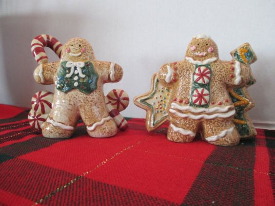Gingerbread Salt and Pepper, Christmas Salt and Pepper, Gingerbread Collection, Holiday Decorations, Christmas Gingerbread Kitchen on Etsy, $15.00